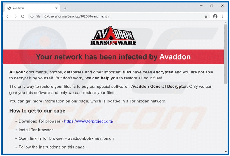 avaddon ransomware message
